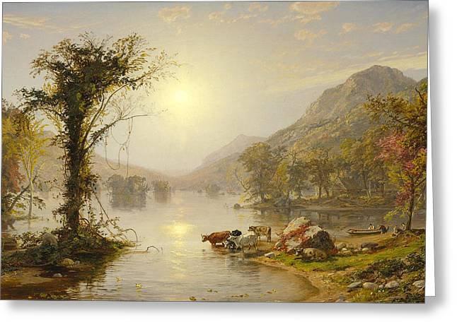 Cropsey Greeting Cards - Autumn on Greenwood Lake Greeting Card by Jasper Francis Cropsey