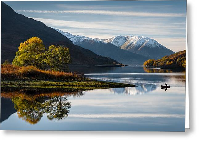 Snow Capped Greeting Cards - Autumn on Loch Leven Greeting Card by Dave Bowman