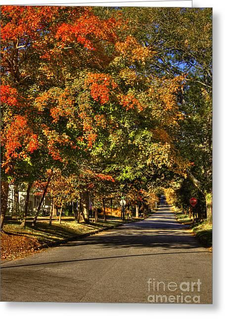 Shady Street Greeting Cards - Autumn On South Street Greensboro GA Greeting Card by Reid Callaway