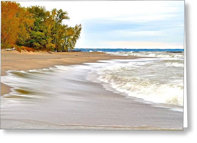 Crisp Greeting Cards - Autumn on the Beach Greeting Card by Frozen in Time Fine Art Photography