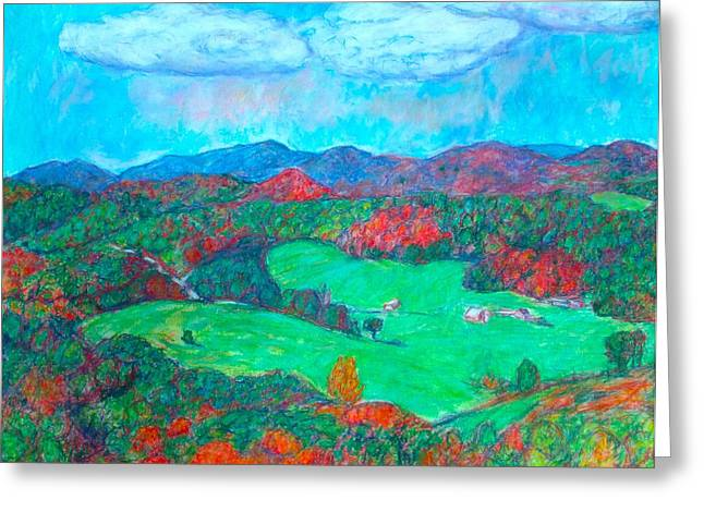 Mountain Valley Pastels Greeting Cards - Autumn on the Blue Ridge Greeting Card by Kendall Kessler
