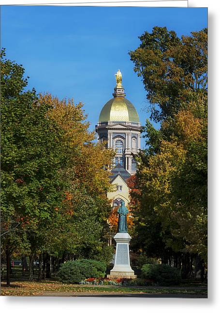 Fallen Leaf Greeting Cards - Autumn on the Campus of Notre Dame Greeting Card by Mountain Dreams