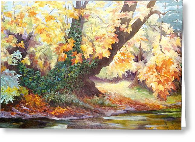 Autumn On The Darent Greeting Card by Cristiana Angelini