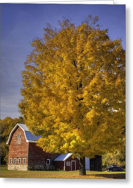 Old Barns Greeting Cards - Autumn On The Farm Greeting Card by Thomas Young