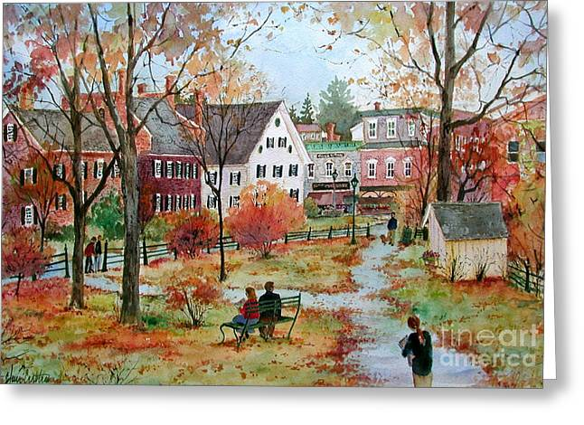 New England Village Paintings Greeting Cards - Autumn on the Green Greeting Card by Sherri Crabtree