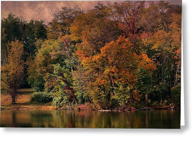 Autumn On The Lake Greeting Card by Deena Stoddard