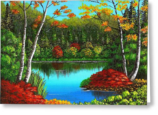 Cyndi Kingsley Greeting Cards - Autumn On The Water Greeting Card by Cyndi Kingsley