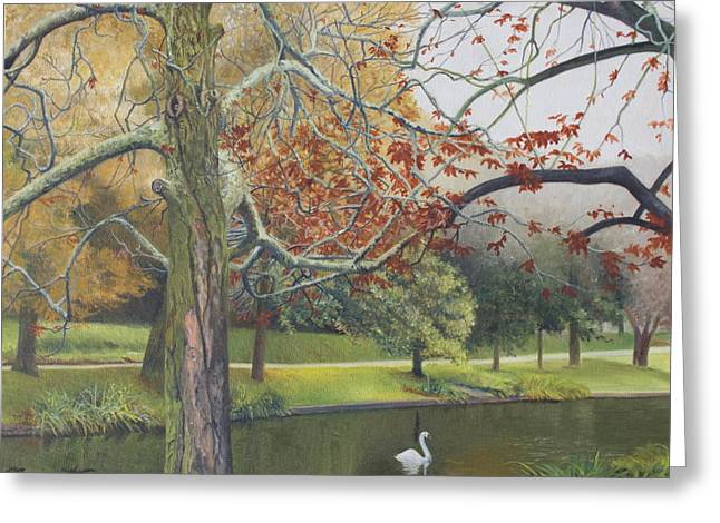 East Hampton Paintings Greeting Cards - Autumn on Town Pond Greeting Card by Barbara Barber