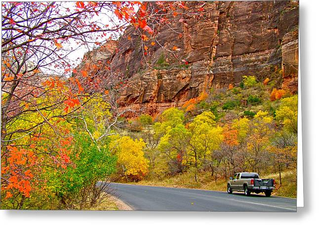 Scenic Drive Digital Greeting Cards - Autumn on Zion Canyon Scenic Drive in Zion National Park-Utah  Greeting Card by Ruth Hager