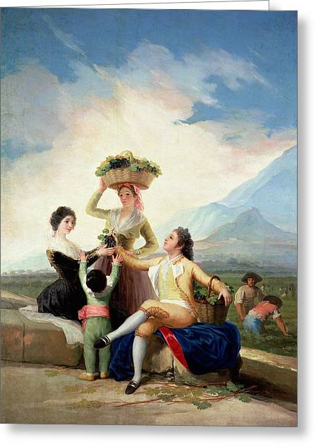 Wine Woman Greeting Cards - Autumn, Or The Grape Harvest, 1786-87 Oil On Canvas Greeting Card by Francisco Jose de Goya y Lucientes
