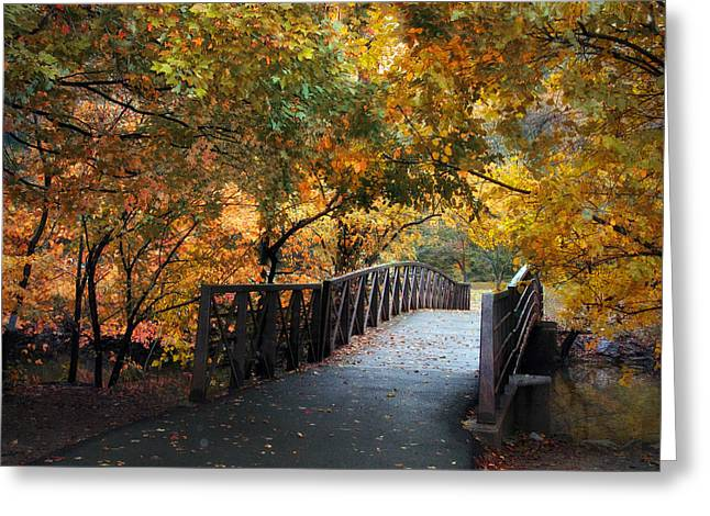 Stream Digital Greeting Cards - Autumn Overpass Greeting Card by Jessica Jenney
