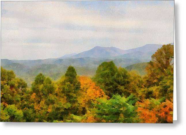 Gatlinburg Tennessee Mixed Media Greeting Cards - Autumn Palette In The Smokies Greeting Card by Dan Sproul