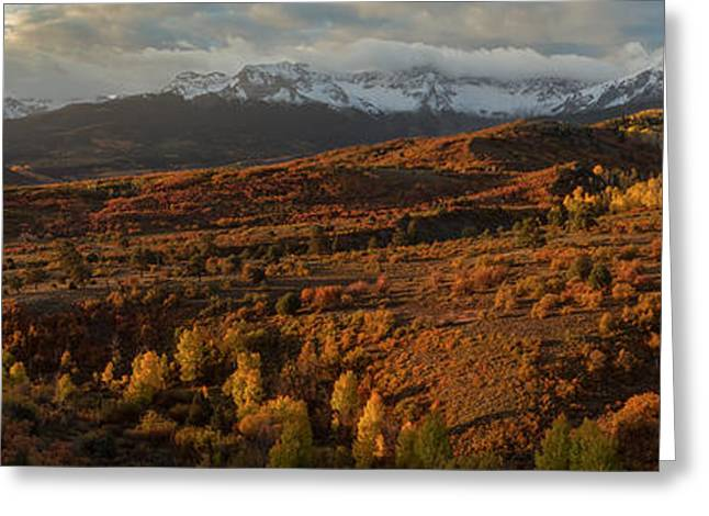 Winter Storm Greeting Cards - Autumn Panorama Greeting Card by Jennifer Grover