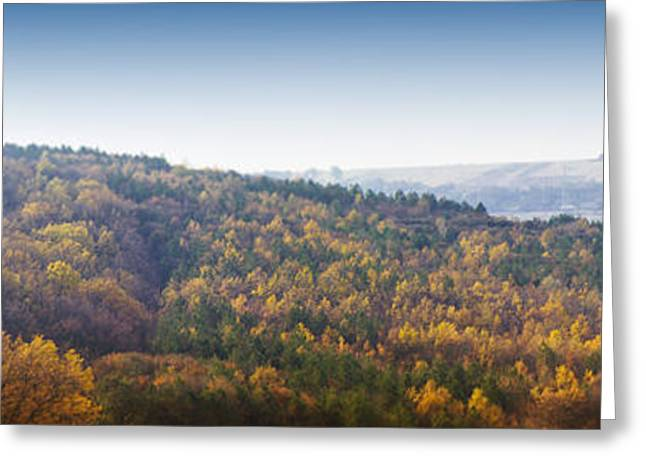 Miniature Effect Greeting Cards - Autumn Panorama With Colored Forest With Diorama Effect Greeting Card by Vlad Baciu
