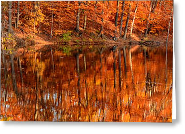 New England Autumn Greeting Cards - Autumn Paradise Greeting Card by Lourry Legarde