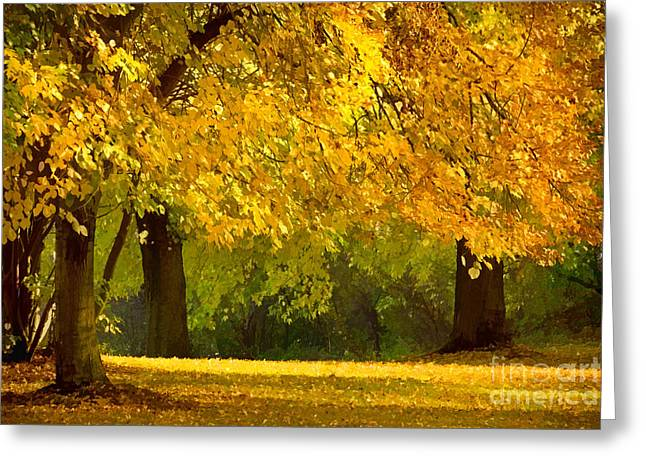 Glowing Mixed Media Greeting Cards - Autumn Park graphical Greeting Card by Lutz Baar