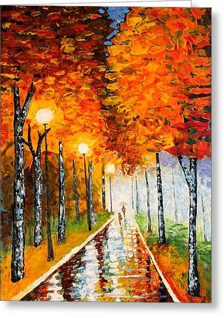 Birch Tree Greeting Cards - Autumn Park Night Lights palette knife Greeting Card by Georgeta  Blanaru