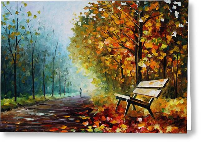 Park Benches Greeting Cards - Autumn Park - PALETTE KNIFE Oil Painting On Canvas By Leonid Afremov Greeting Card by Leonid Afremov