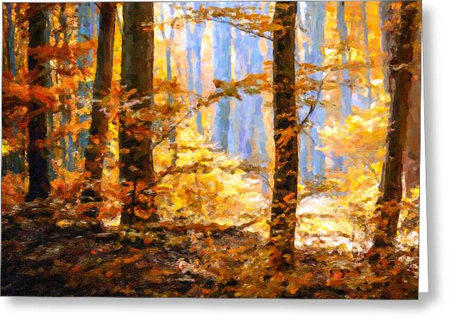 Bright Greeting Cards - Autumn park with colorful foliage Greeting Card by Lanjee Chee