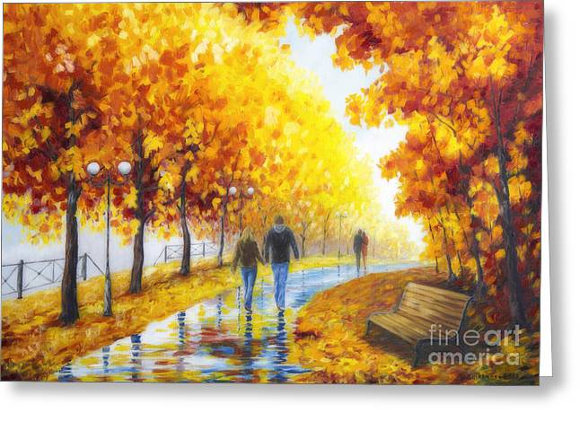 Harmonious Paintings Greeting Cards - Autumn parkway Greeting Card by Veikko Suikkanen