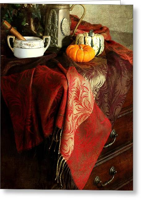 Table Cloth Greeting Cards - Autumn Pashmina Greeting Card by Diana Angstadt