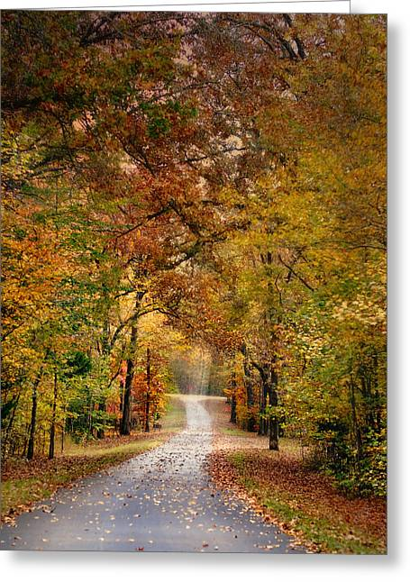 Autumn Scenes Greeting Cards - Autumn Passage 4 - Fall Landscape Scene Greeting Card by Jai Johnson