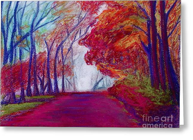 New England. Pastels Greeting Cards - Autumn Path Greeting Card by D Renee Wilson