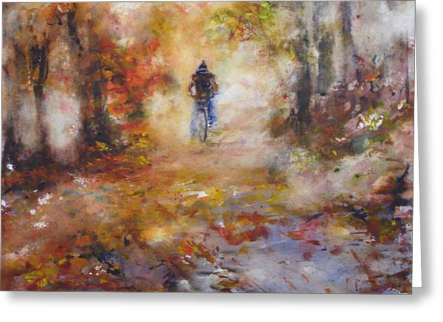 Quite Paintings Greeting Cards - Autumn Path Greeting Card by Rose Sinatra