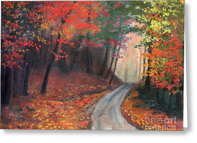 Red Leaves Pastels Greeting Cards - Autumn Pathway Greeting Card by Anna Mulfinger