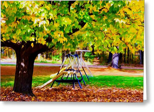 Park Scene Paintings Greeting Cards - Autumn playground 1 Greeting Card by Lanjee Chee