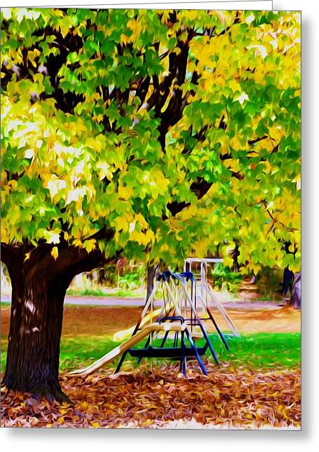 Park Scene Paintings Greeting Cards - Autumn playground Greeting Card by Lanjee Chee