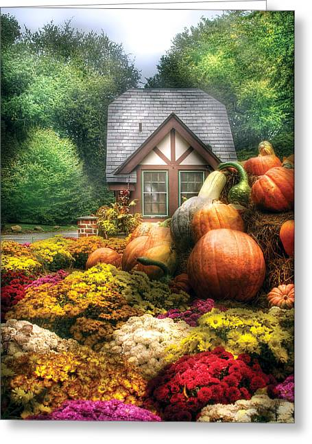 Best Sellers -  - Harvest Art Greeting Cards - Autumn - Pumpkin - This years harvest was Awesome  Greeting Card by Mike Savad