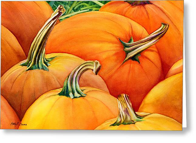 Harvest Deco Paintings Greeting Cards - Autumn Pumpkins Greeting Card by Hailey E Herrera