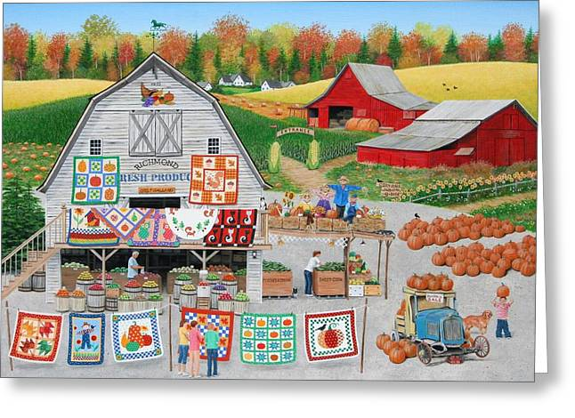 Autumn Quilts Greeting Card by Wilfrido Limvalencia