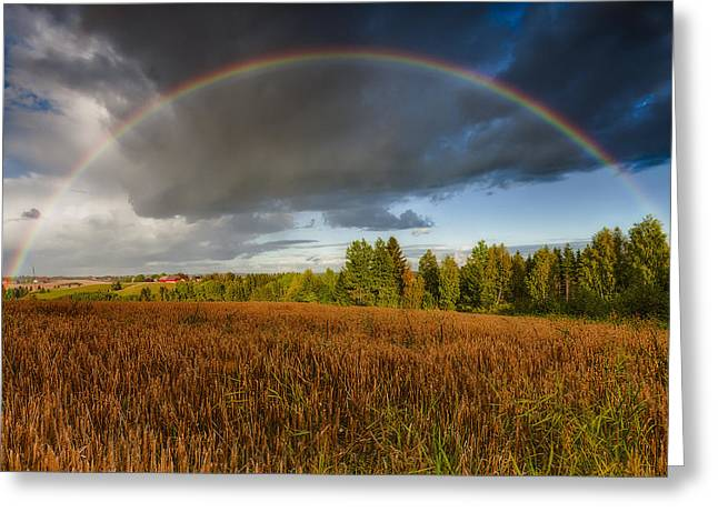 Green Hills Greeting Cards - Autumn Rainbow Greeting Card by Erik Brede