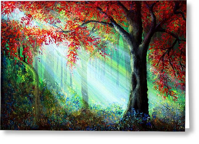 Kinkade Greeting Cards - Autumn Rays Greeting Card by Ann Marie Bone