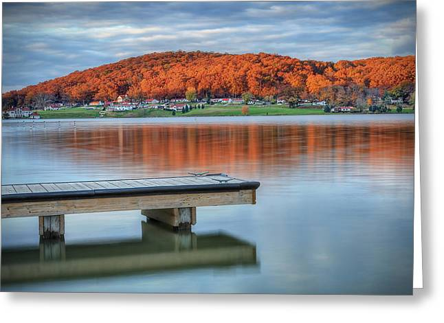 Autumn Scenes Greeting Cards - Autumn Red at Lake White Greeting Card by Jaki Miller