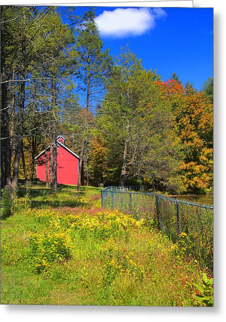 Connecticut Farms Greeting Cards - Autumn Red Barn Greeting Card by Joann Vitali