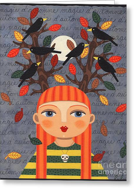 Raven Haired Greeting Cards - Autumn Red Head Girl with Fallen Leaves and Crows Greeting Card by LuLu Mypinkturtle