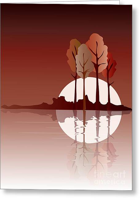 Lakes Digital Greeting Cards - Autumn reflected Greeting Card by Jane Rix