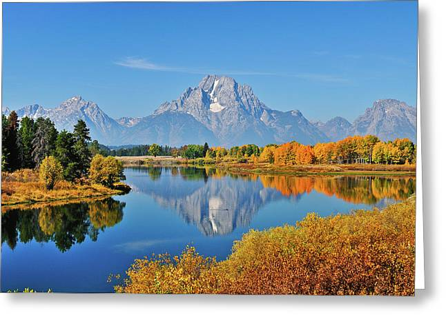 Tetons Greeting Cards - Autumn Reflections at Oxbow Bend Greeting Card by Greg Norrell