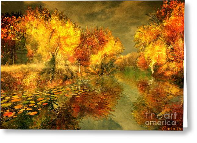 Reflection Harvest Greeting Cards - Autumn Reflections Greeting Card by Carlotta Ceawlin