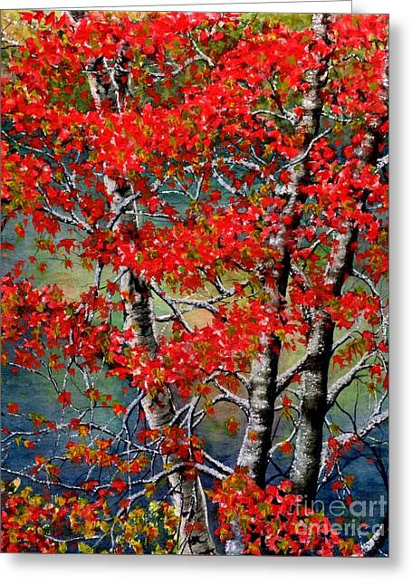 Water In Creek Greeting Cards - Autumn Reflections Greeting Card by Janine Riley