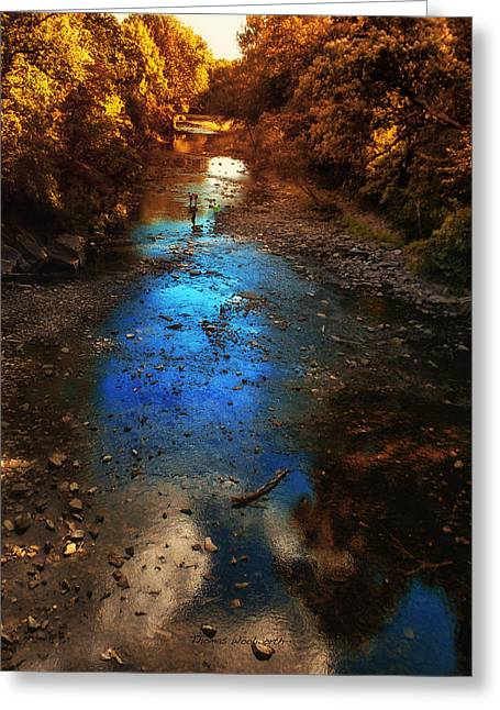 Autumn Reflections On The Tributary Greeting Card by Thomas Woolworth