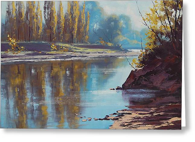 Beautiful Creek Paintings Greeting Cards - Autumn Reflections Tumut River Greeting Card by Graham Gercken