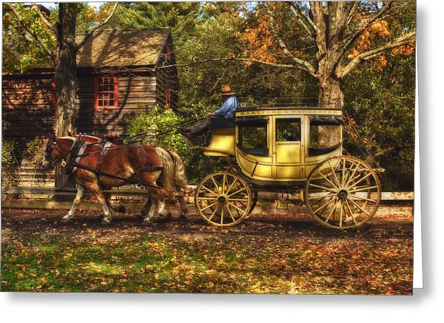 New England Village Scene Greeting Cards - Autumn Ride Greeting Card by Joann Vitali