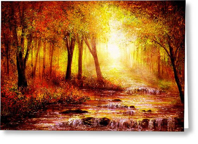 Kinkade Greeting Cards - Autumn River Greeting Card by Ann Marie Bone