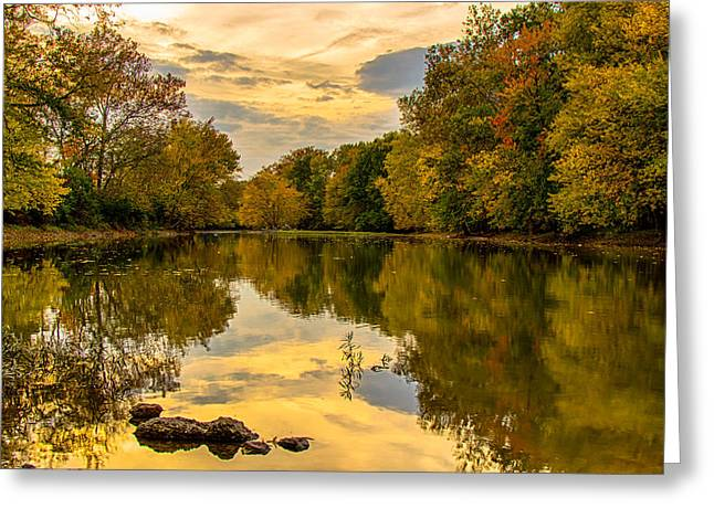 Indiana Autumn Greeting Cards - Autumn River Colors Greeting Card by Curtis Henderson