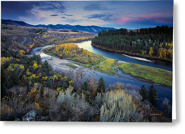 Autumn River Greeting Card by Leland D Howard