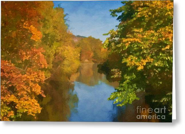 Fall Colors Digital Greeting Cards - Autumn River Greeting Card by Lutz Baar